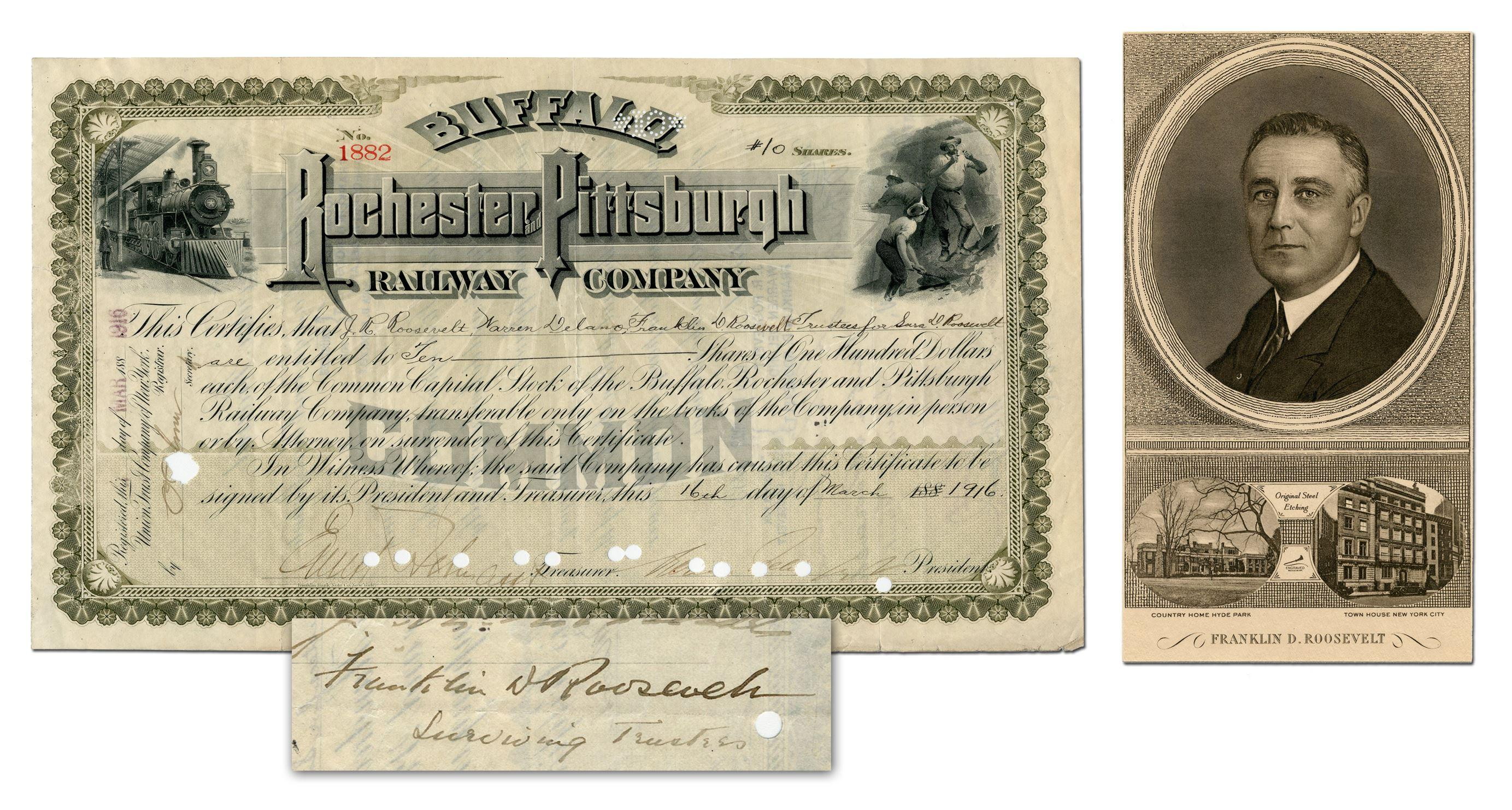 Franklin D. Roosevelt Signs Rare Stock Certificate as Trustee of his Mother's Estate