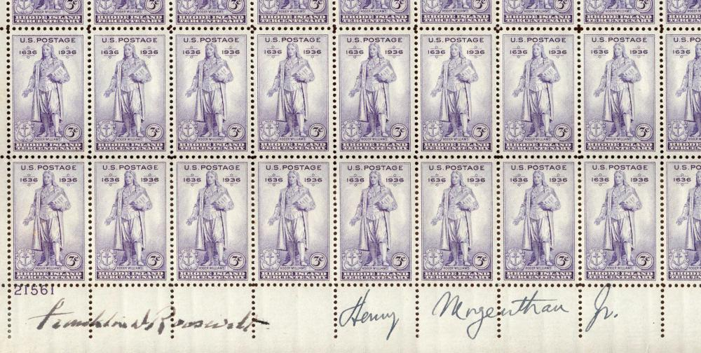 Franklin D. Roosevelt & Sec. of Treasury Signed 50-Stamp Block Celebrating Rhode Island Tercentenary