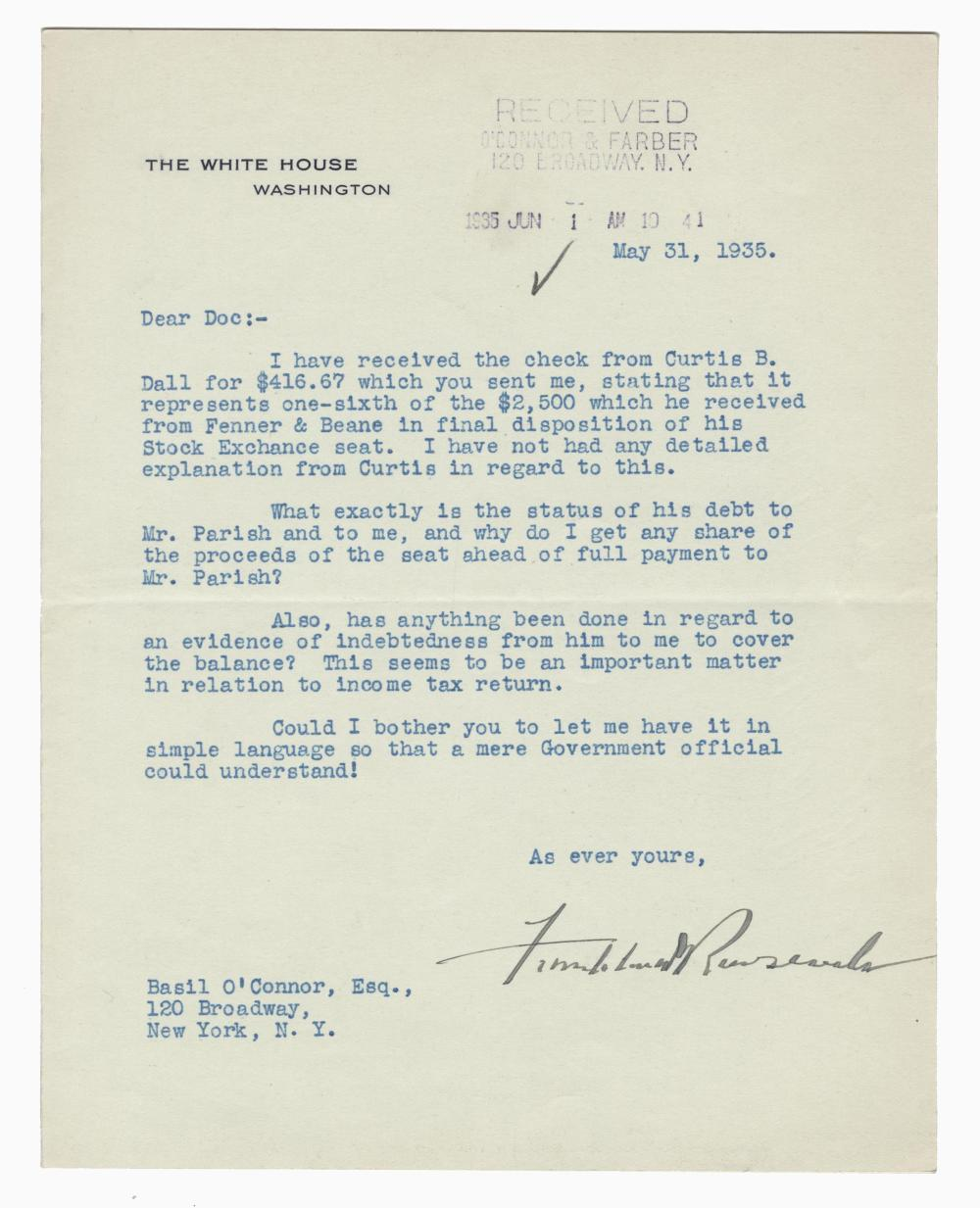 Franklin Roosevelt W. H. Letter Re: The Sale of a Stock Exchange Seat During the Depression