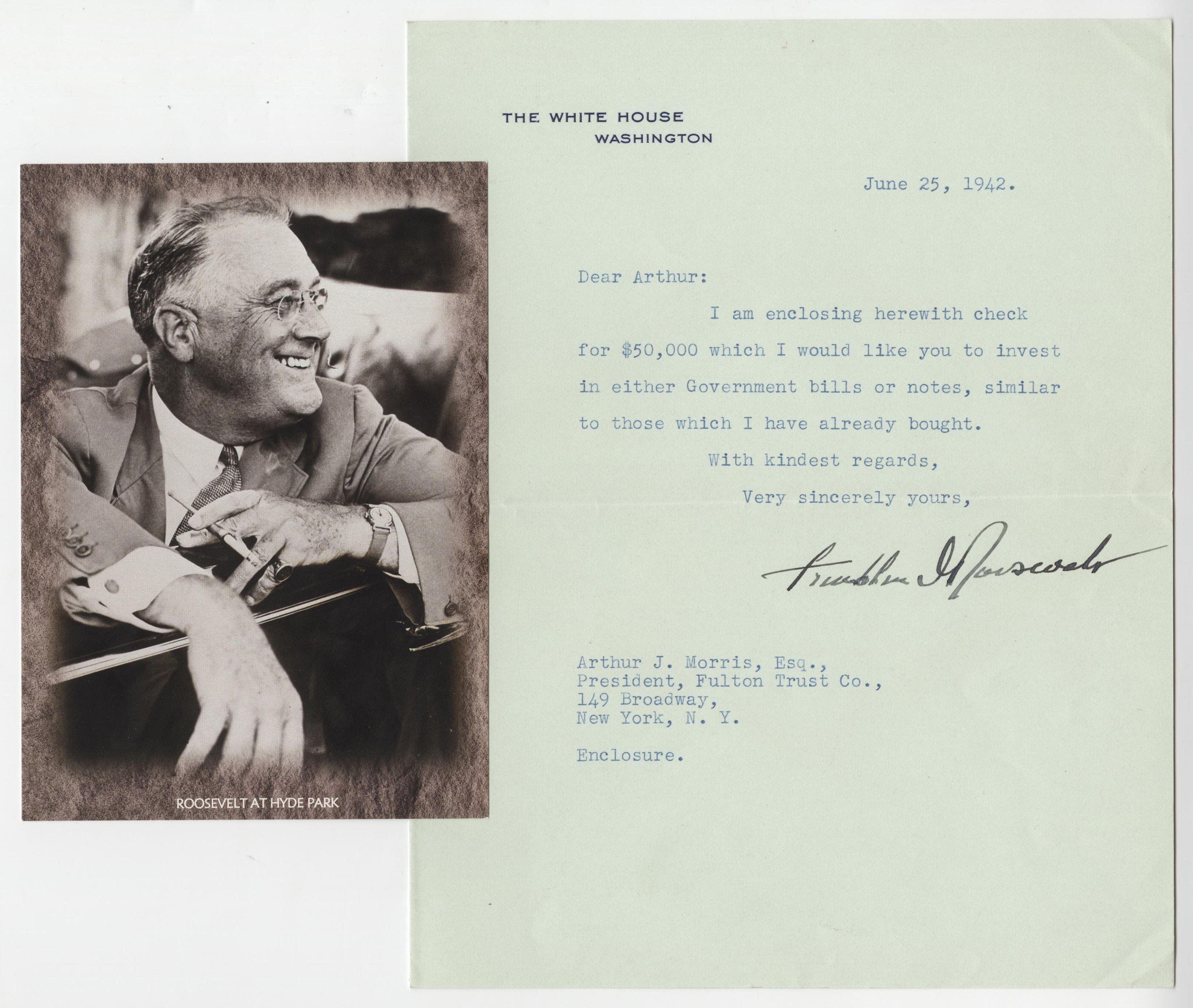 Franklin Roosevelt WWII White House Letter Where he Invests $50k in Gov't. Bonds