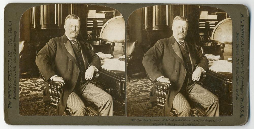 Rare Original Theodore Roosevelt Stereograph Photo Likely Taken on the Eve of West Wing Completion