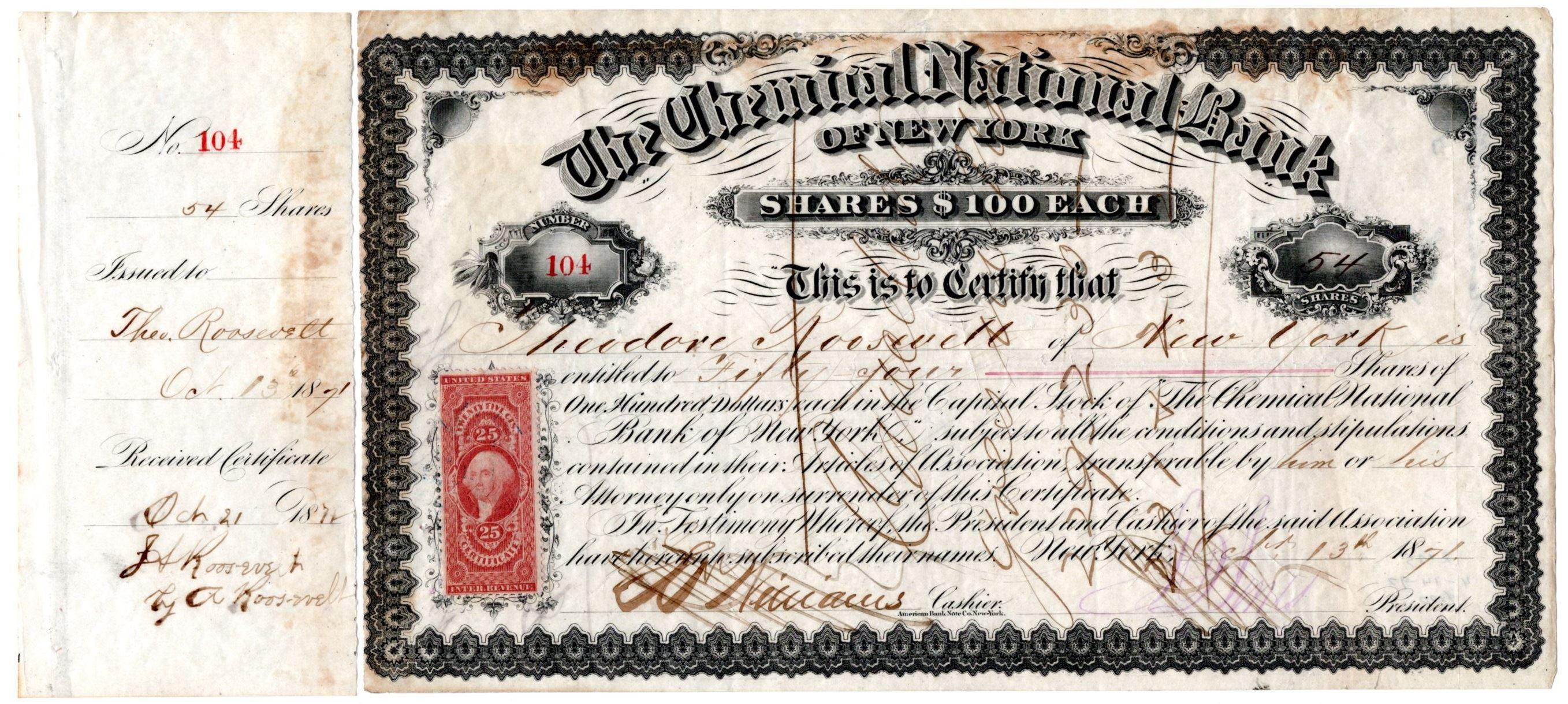 Stock Certificate Issued to Theodore Roosevelt Sr., Father of the President