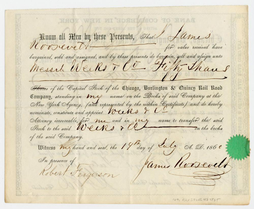 James Roosevelt I, FDR's Father, 2x Signed Midwestern Railroad Certificate Worth Equivalent $150K Today!