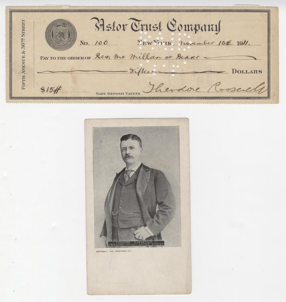 Theodore Roosevelt Fantastic Signed Check