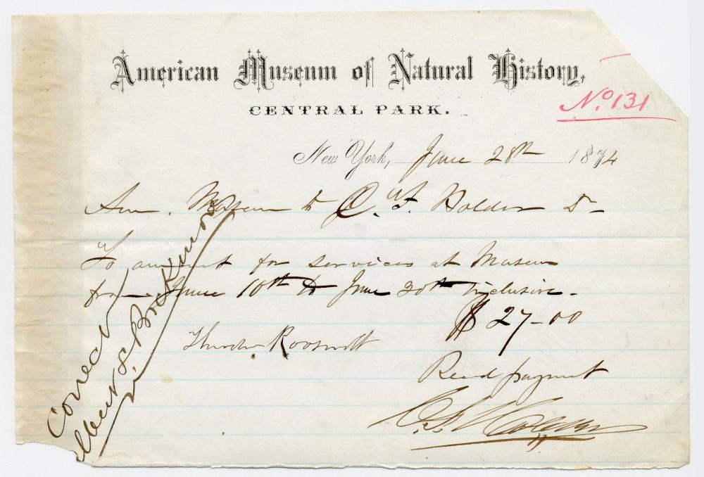 TR's Father, Theodore Roosevelt, Sr. Signed Receipt Re: American Museum of Natural History; 15-Year-Old Teddy Had Begun His Own Natural History Museum 7 Years Earlier!