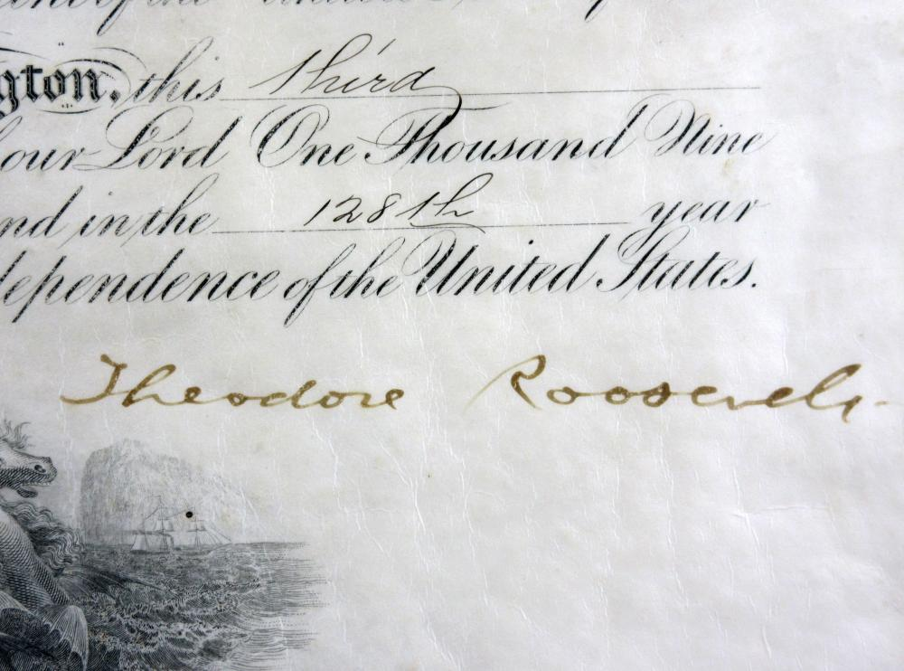 Theodore Roosevelt Signed Naval Commission
