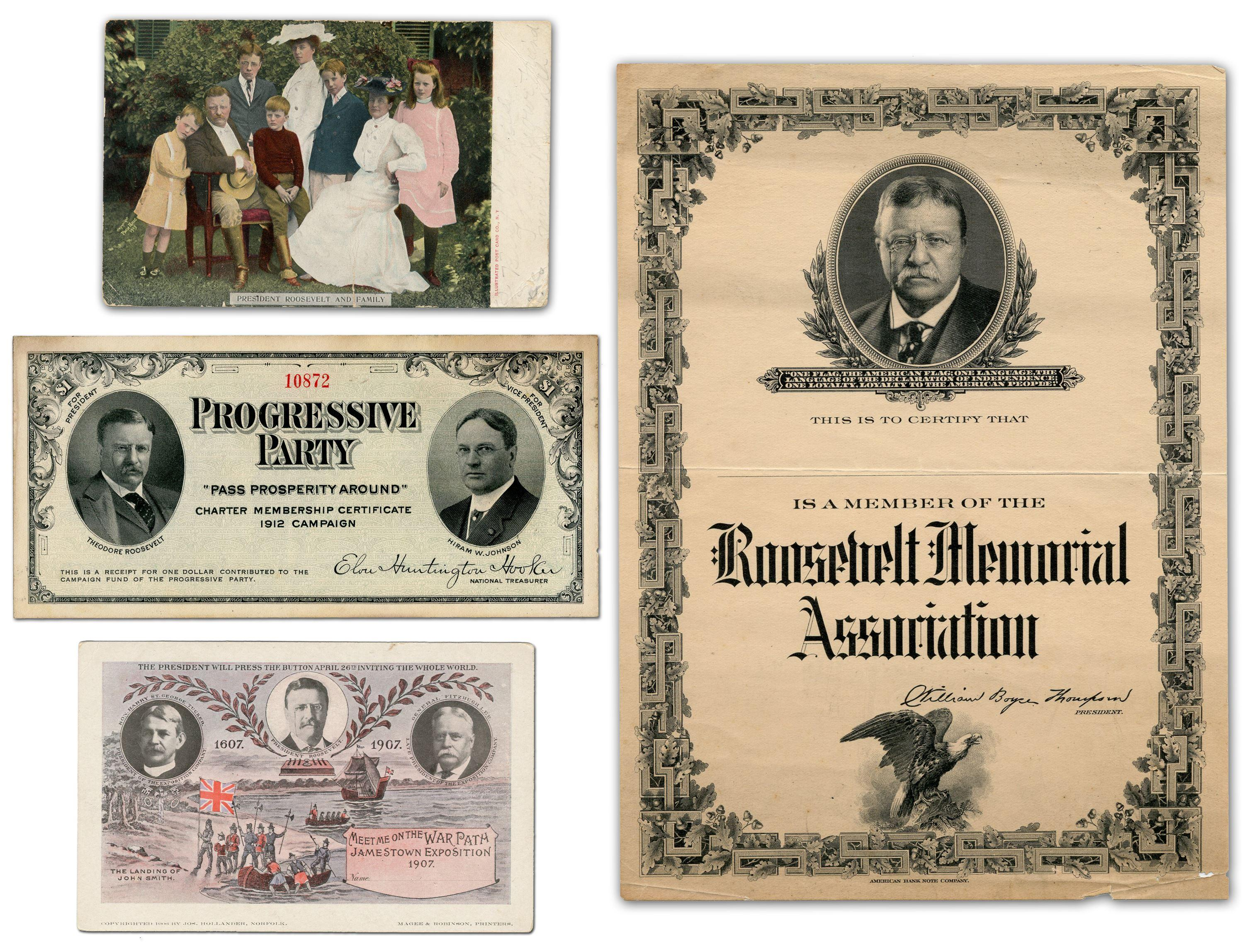 Theodore Roosevelt Ephemera, 4 Pcs, Relating to Presidency, Progressive Party, & Posthumous Commemoration