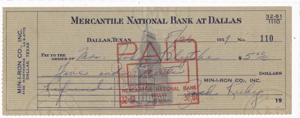 Jack Ruby Signed Handwritten Signed Check