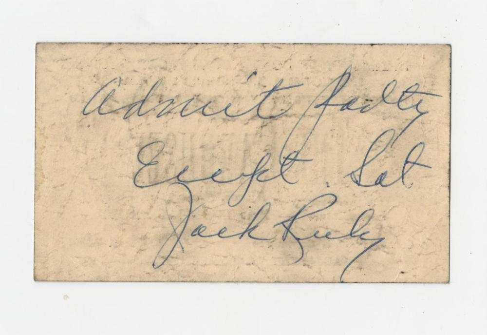 Jack Ruby Unique Signed Strip Club Pass, With Provenance
