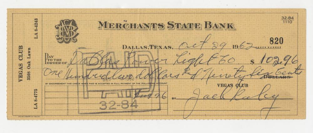 Jack Ruby Signed Check Dated One Year Prior to the JFK Assassination