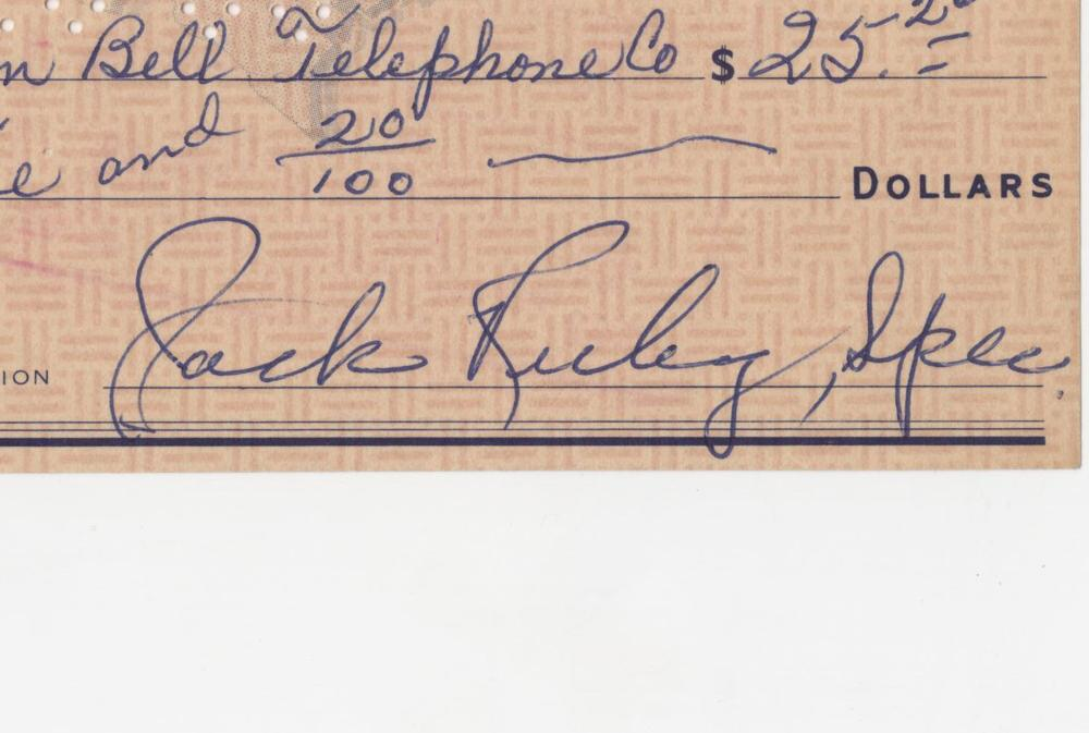Jack Ruby Superb Signed Check