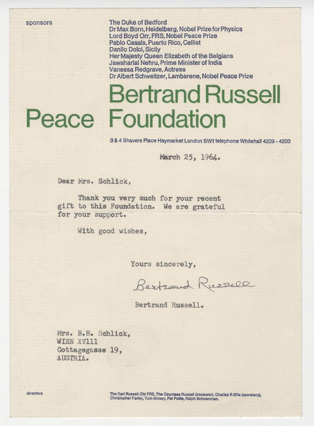 Nobel Laureate, Bertrand Russell Signed Letter