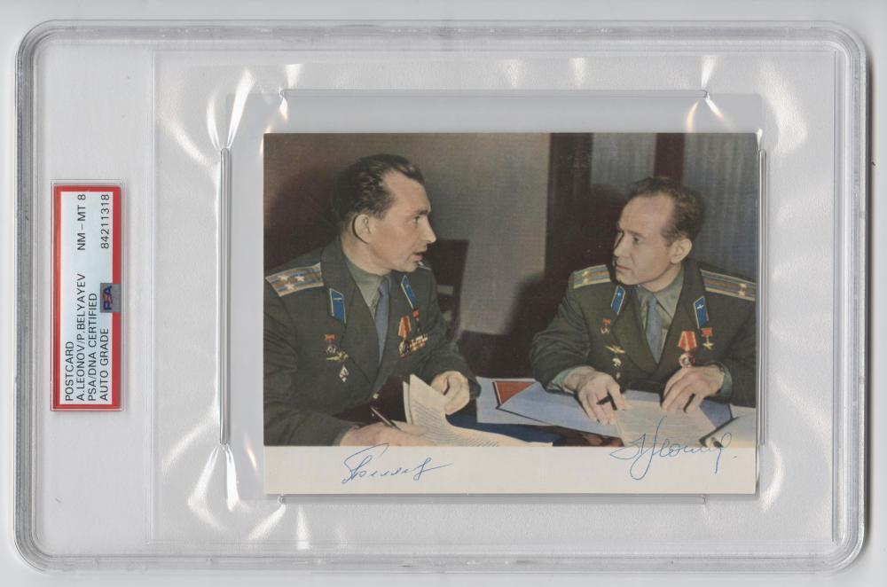Soviet Cosmonauts, Leonov and Belyayev Signed Postcard, PSA Slabbed & Graded NM-MT 8