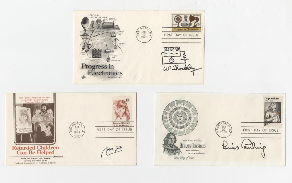 Set of 5 Signed Science FDCs, Pauling, Salk, Shockley, Zworykin, and Teller