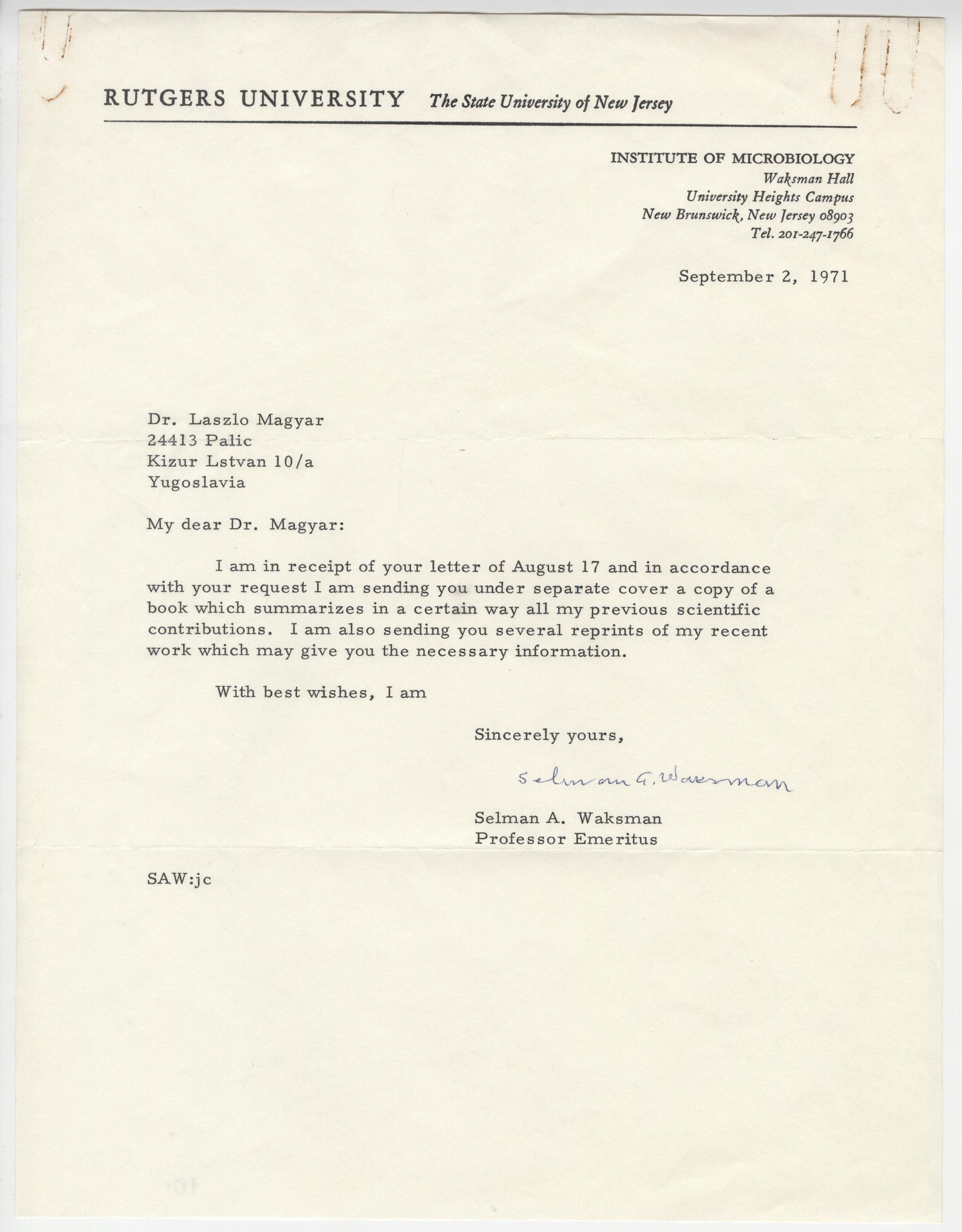 Nobel Prize Laureate Selman Waksman TLS on Scientific Contributions