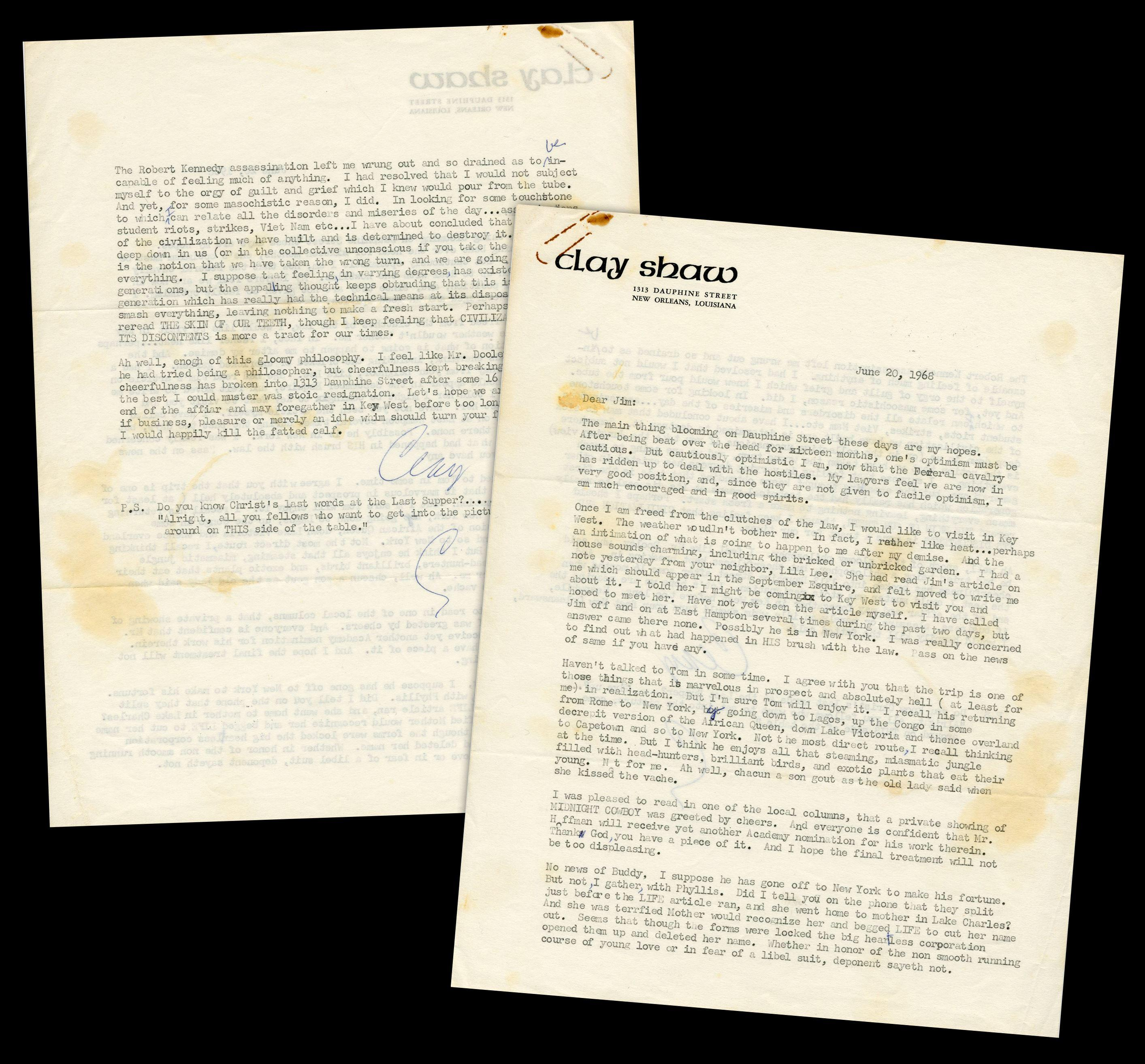 Clay Shaw, Accused of Conspiring to Assassinate JFK, Superb Letter Re: Criminal Charges & the Assassination of RFK