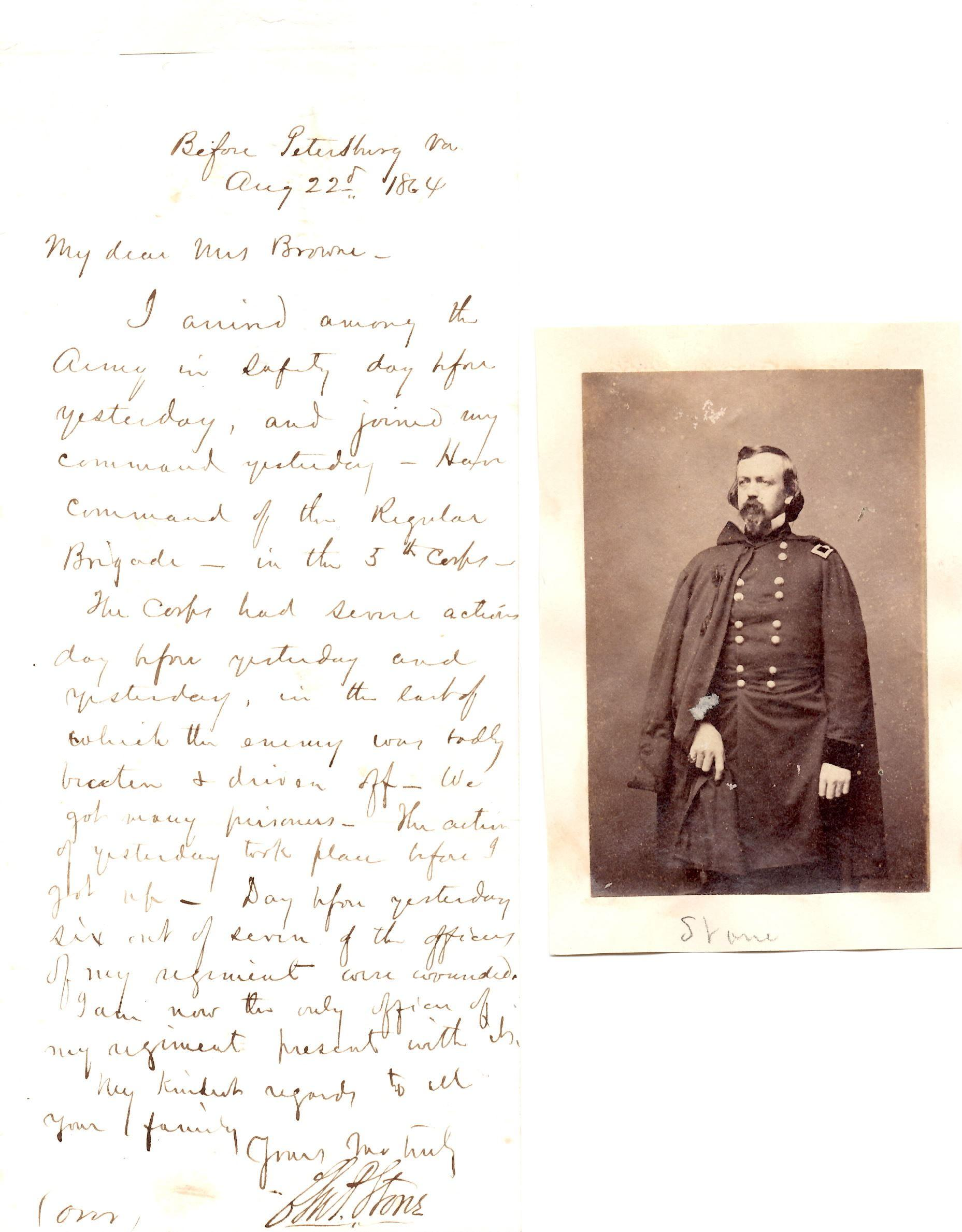Charles Stone Letter Written At Petersburg