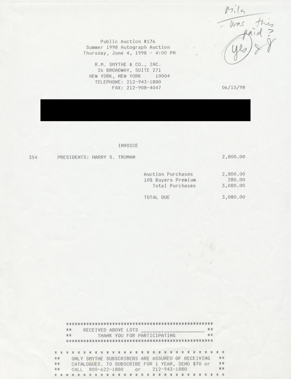 Harry S. Truman Signed Super Rare Stock Certificate