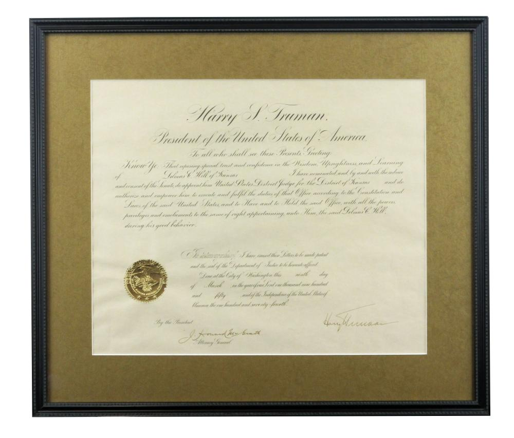 Harry S. Truman Signed Legal Appointment of Fellow Midwesterner