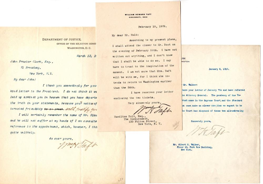Great Archive of Signed Letters by William Howard Taft