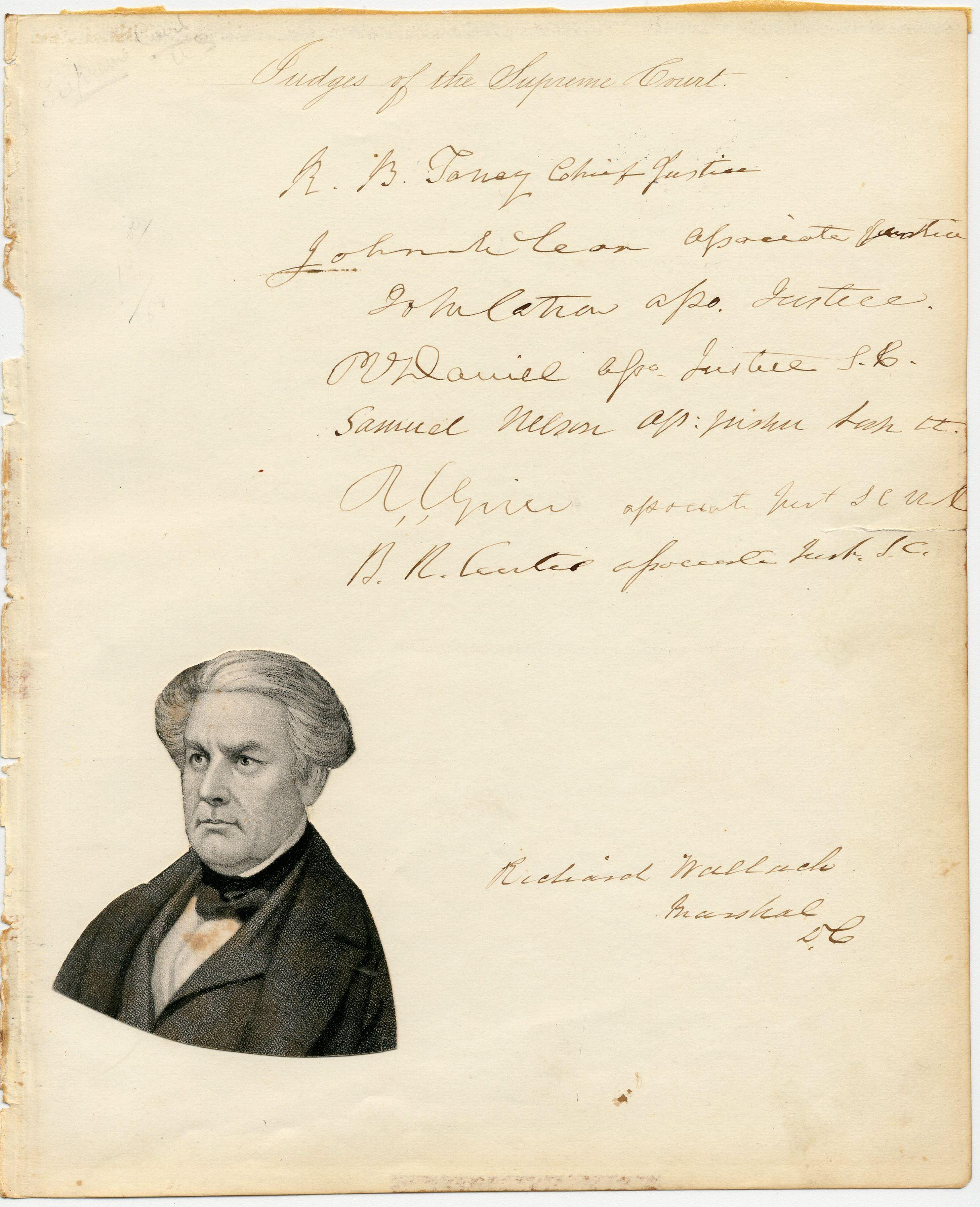 Signatures of 7 of 9 S.C. Justices of the Taney Court -- Uncommon!