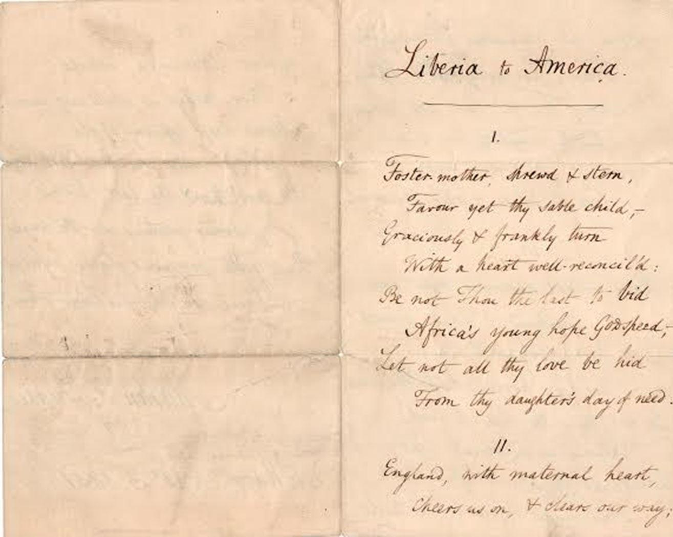 "Martin Tupper Writes Out Four Verses Of His Poem ""Liberia to America"""