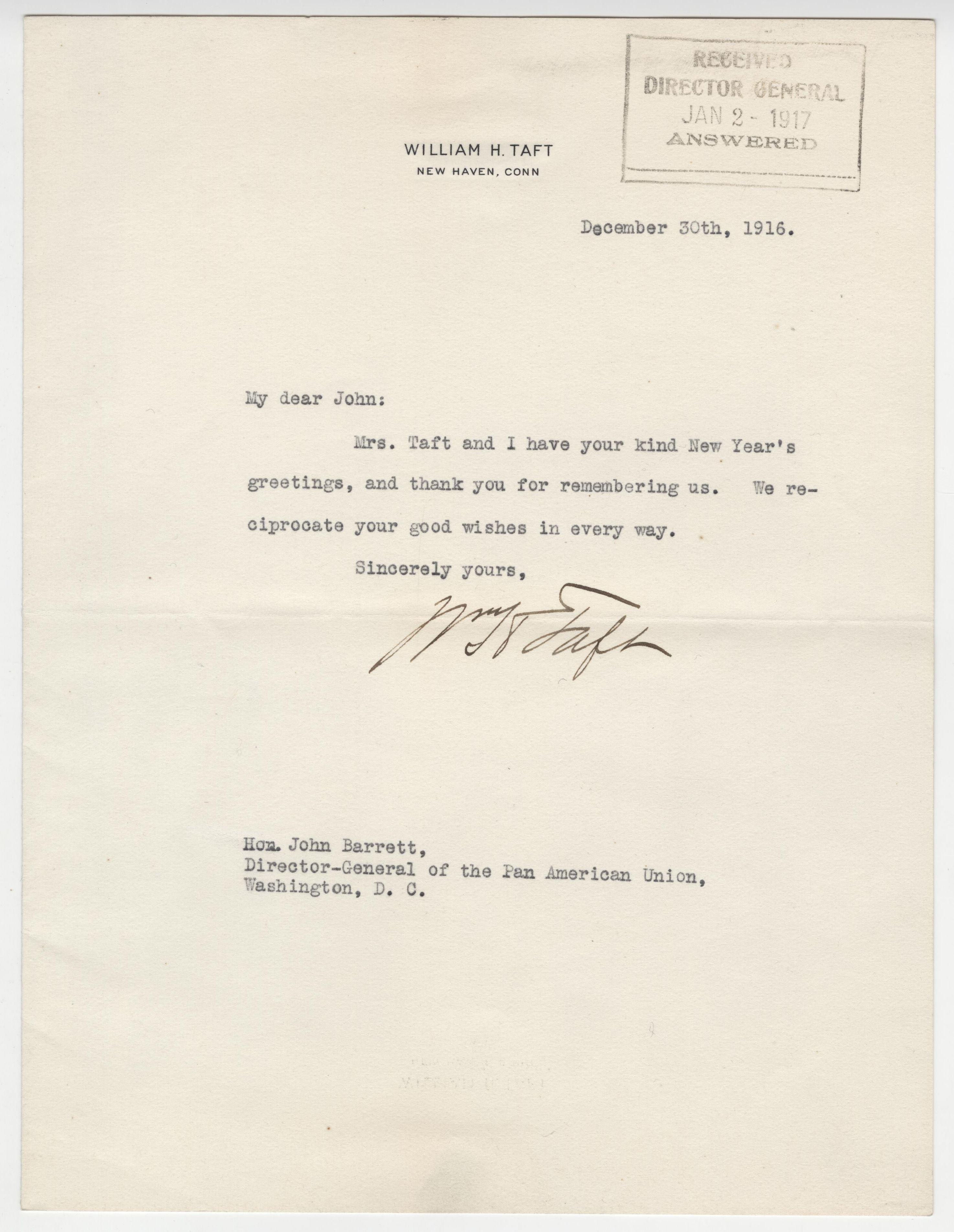 William Taft to Director of Pan American Union