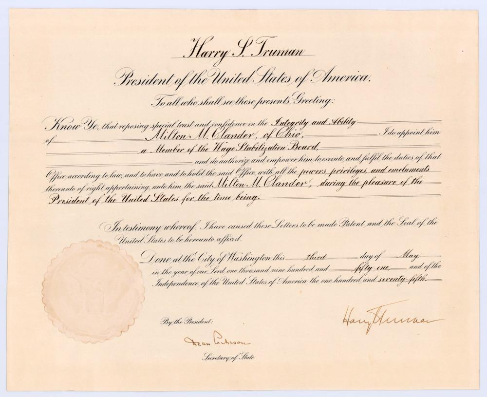 Harry S. Truman Signed Korean War-Dated Government Agency Appointment