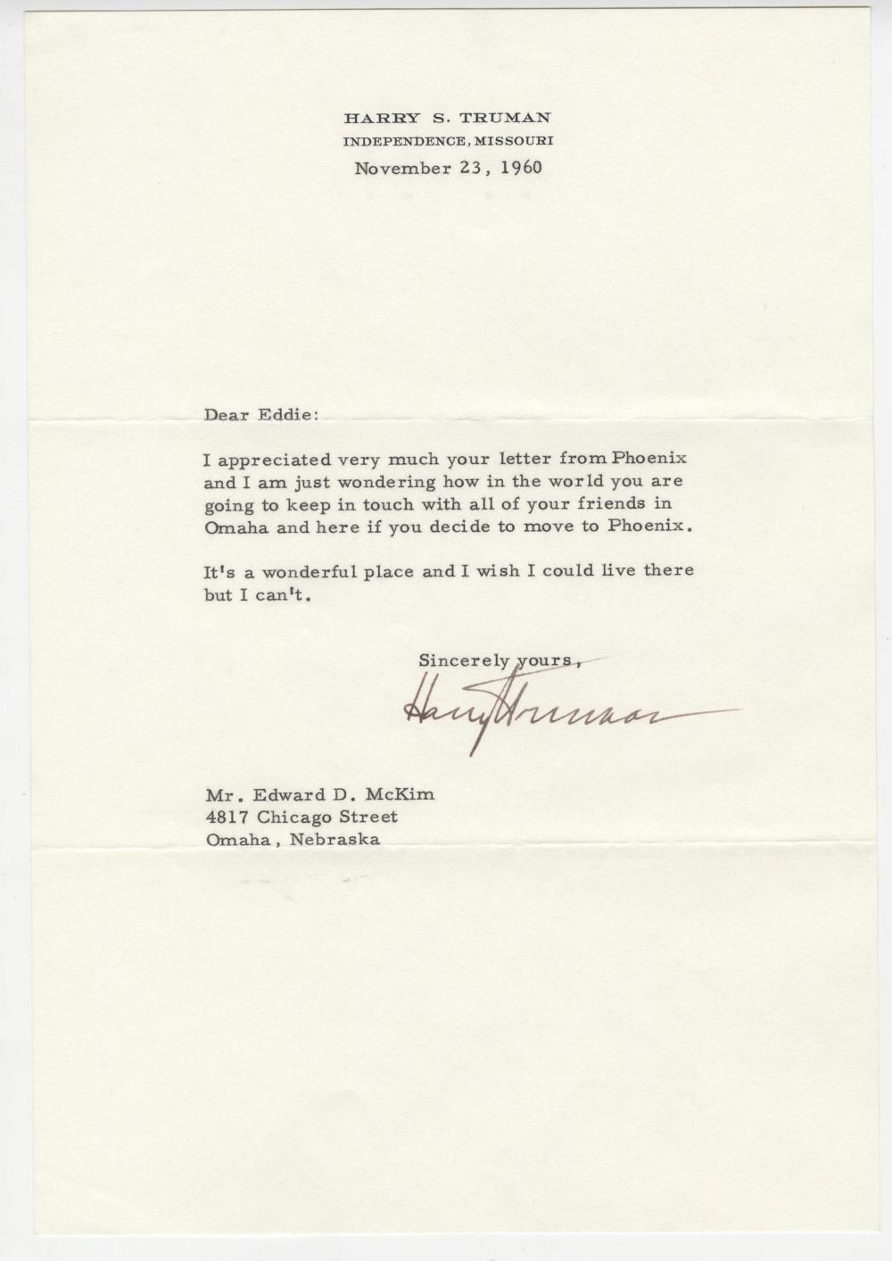 Harry Truman Signed Letter on Life In Phoenix