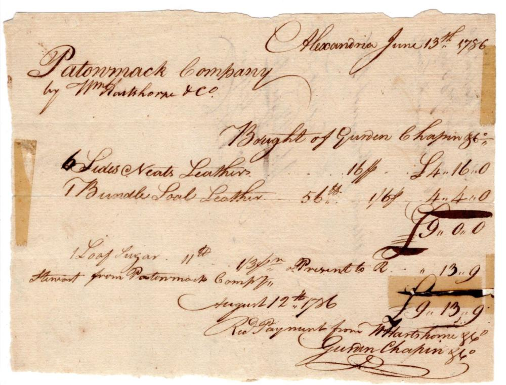 George Washington Approves Purchase of Leather and Sugar for Potomac Company. Fantastic DS