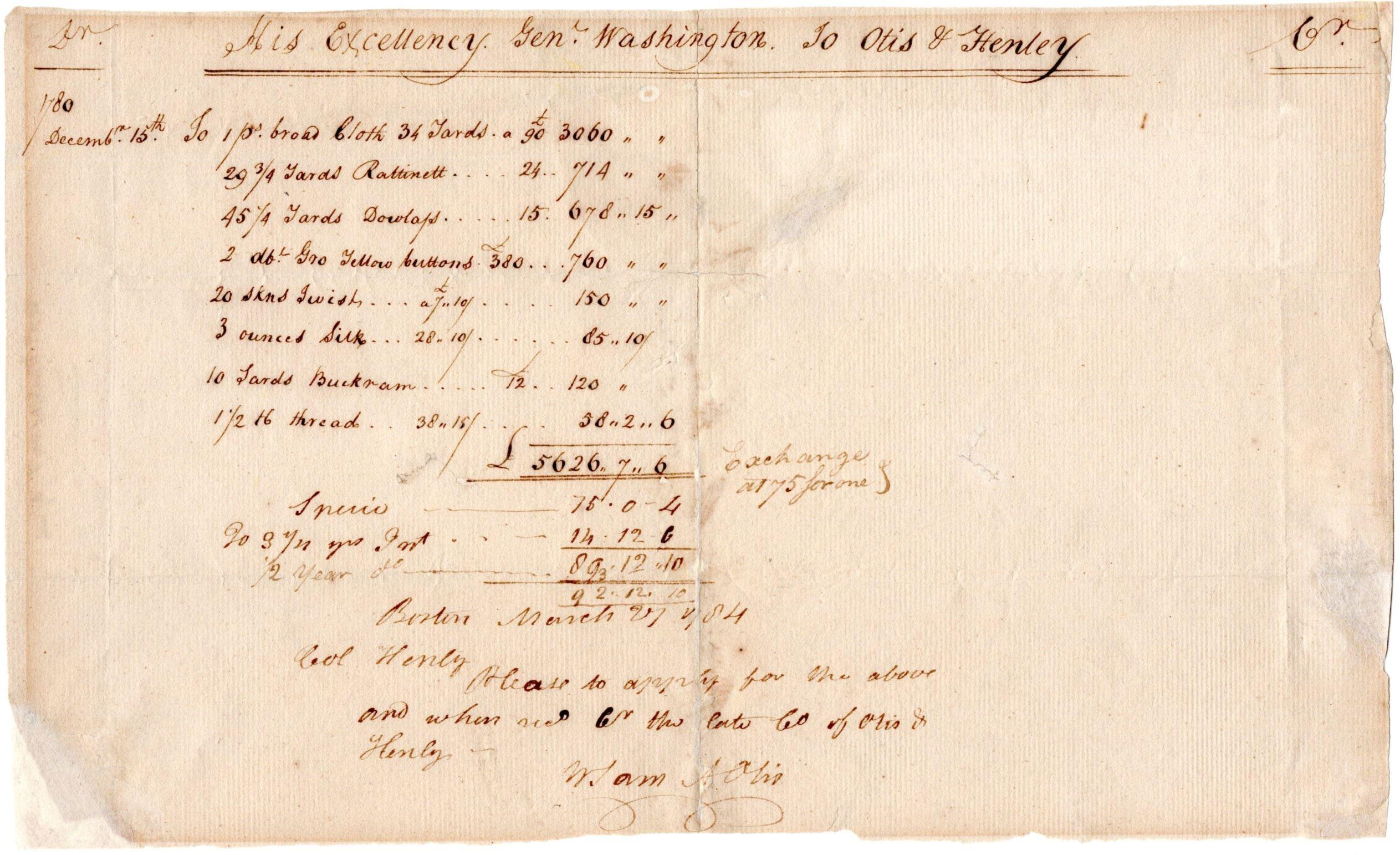 George Washington's Account with Boston Merchants for Cloth for the Continental Army