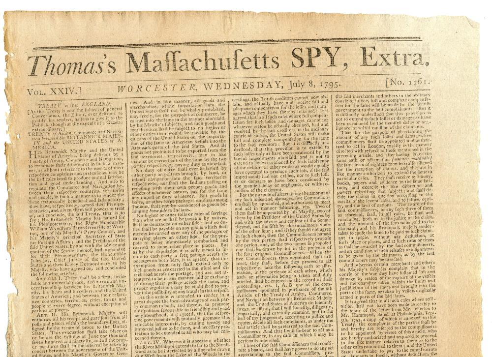 """Thomas's Massachusetts Spy"" Reprints Jay Treaty, Senate Approved One Month Earlier"