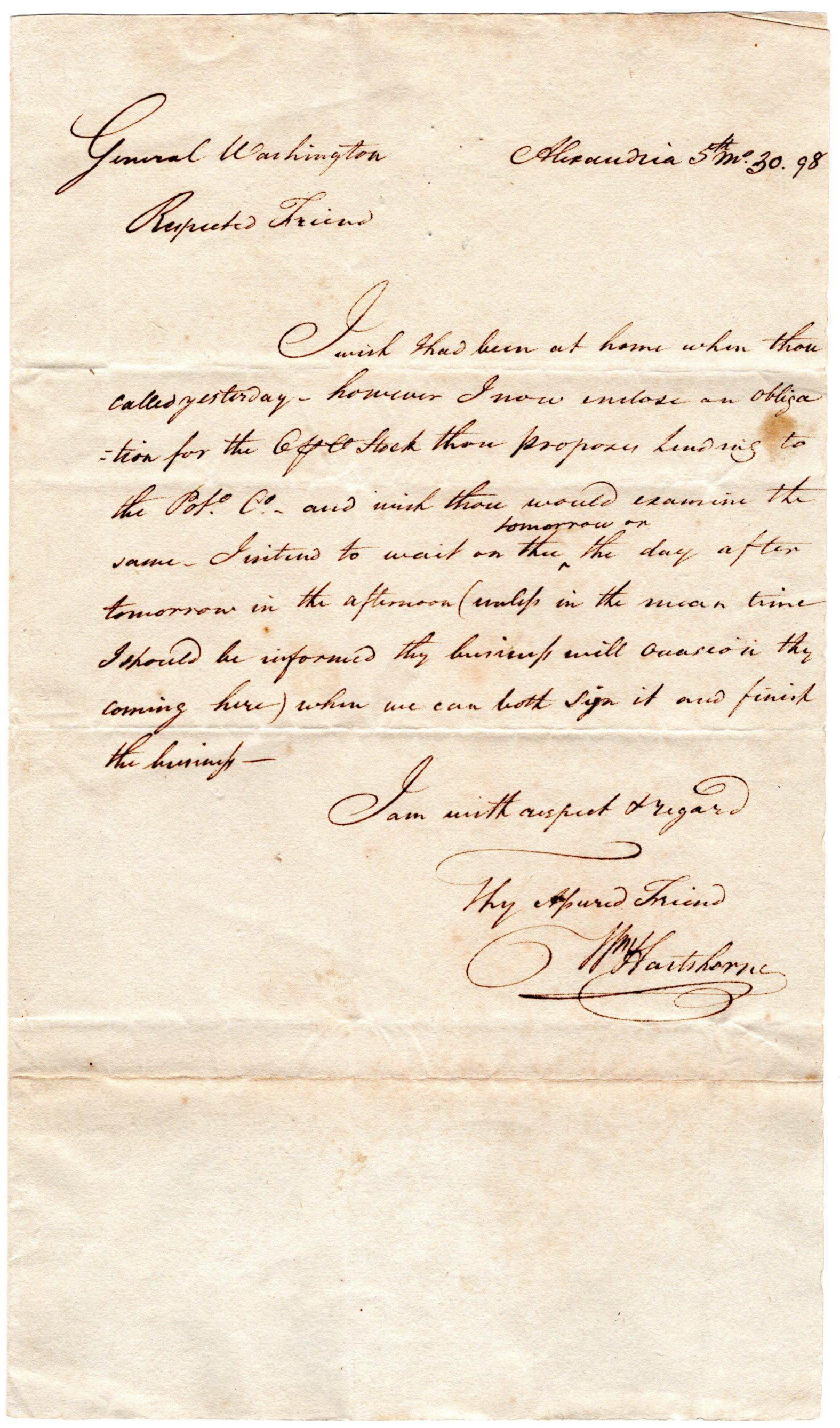 George Washington Makes Loan to the Potomac Company