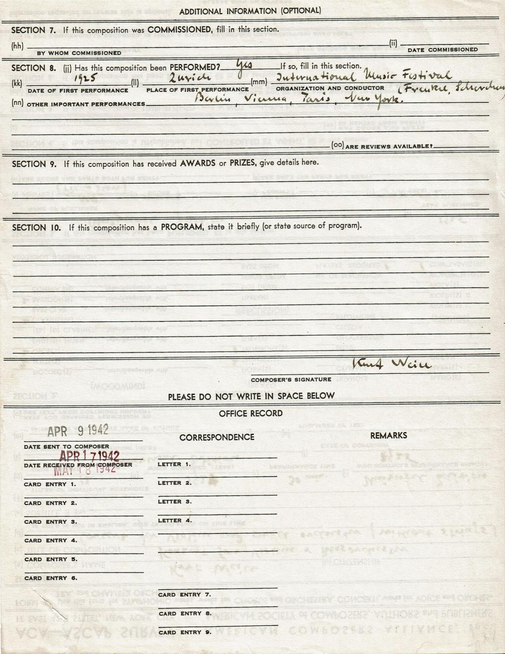 Kurt Weill Signed Document Completed Entirely in His Hand
