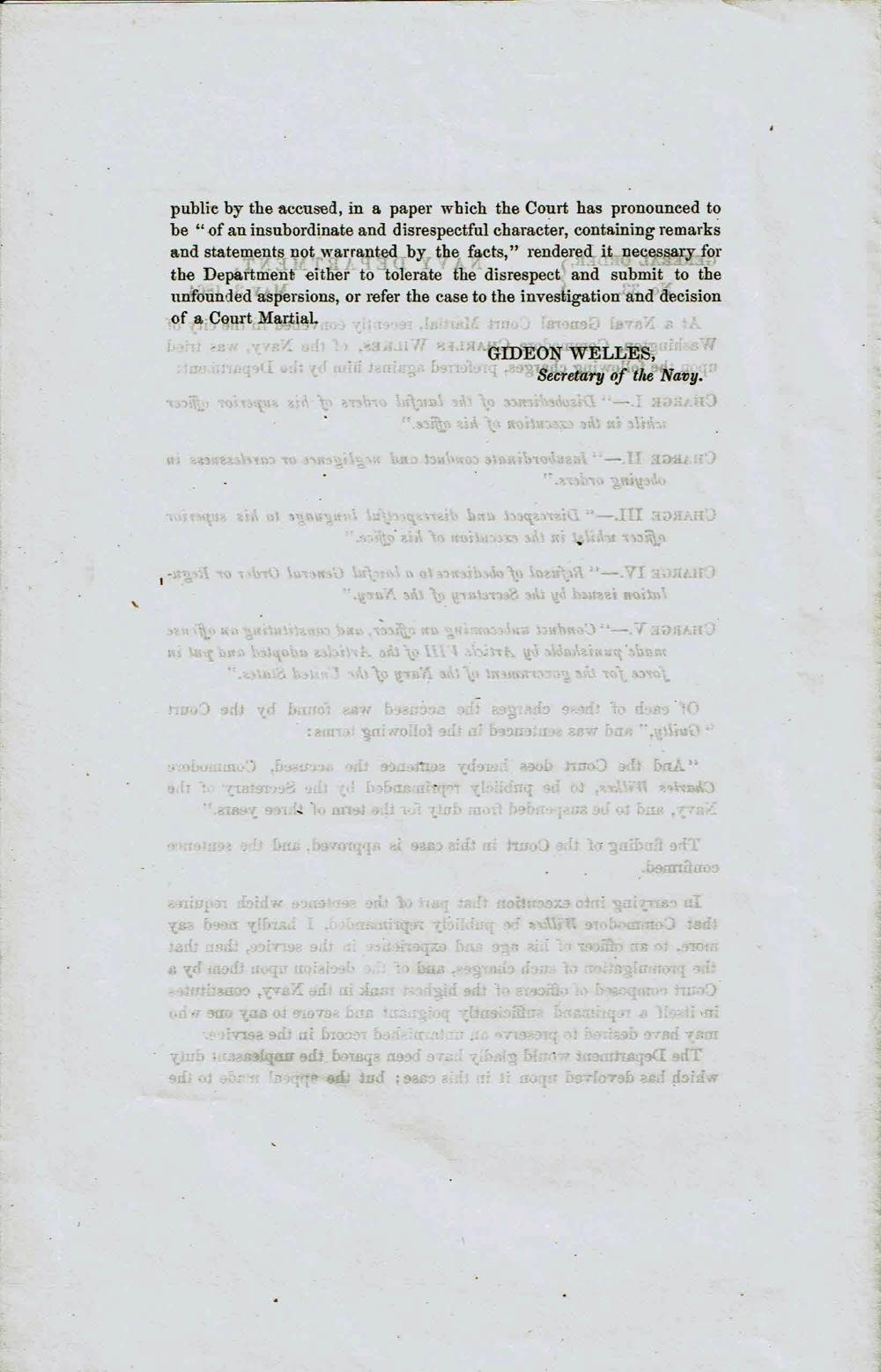 Gideon Welles Printed Order Court Martial Finds Naval Commander at the Center of the Trent Affair Guilty of Insubordination and Disobedience in Later Conduct
