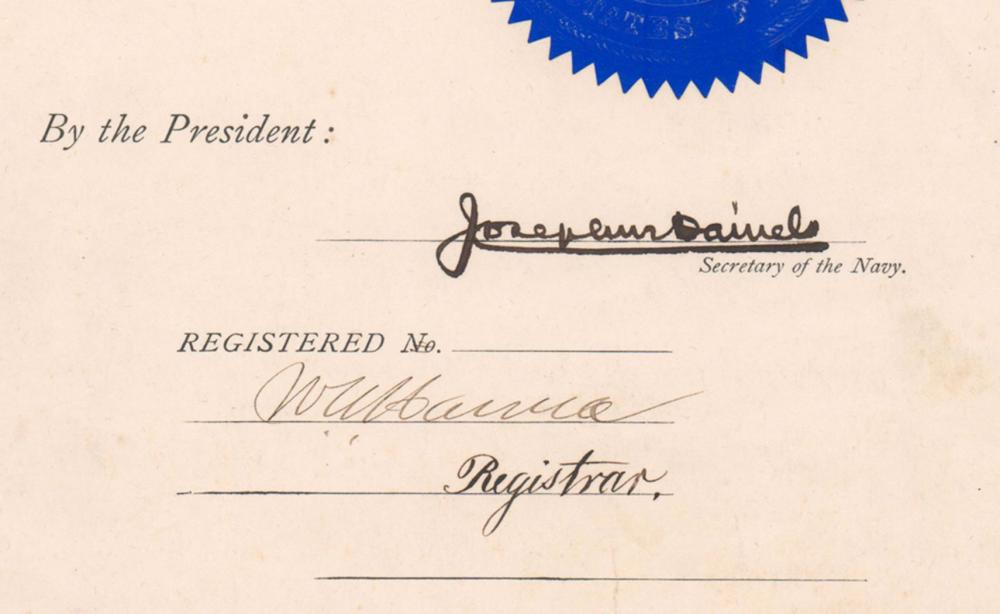 Woodrow Wilson Promotes Future WWII Rear Admiral on the Eve of WWI