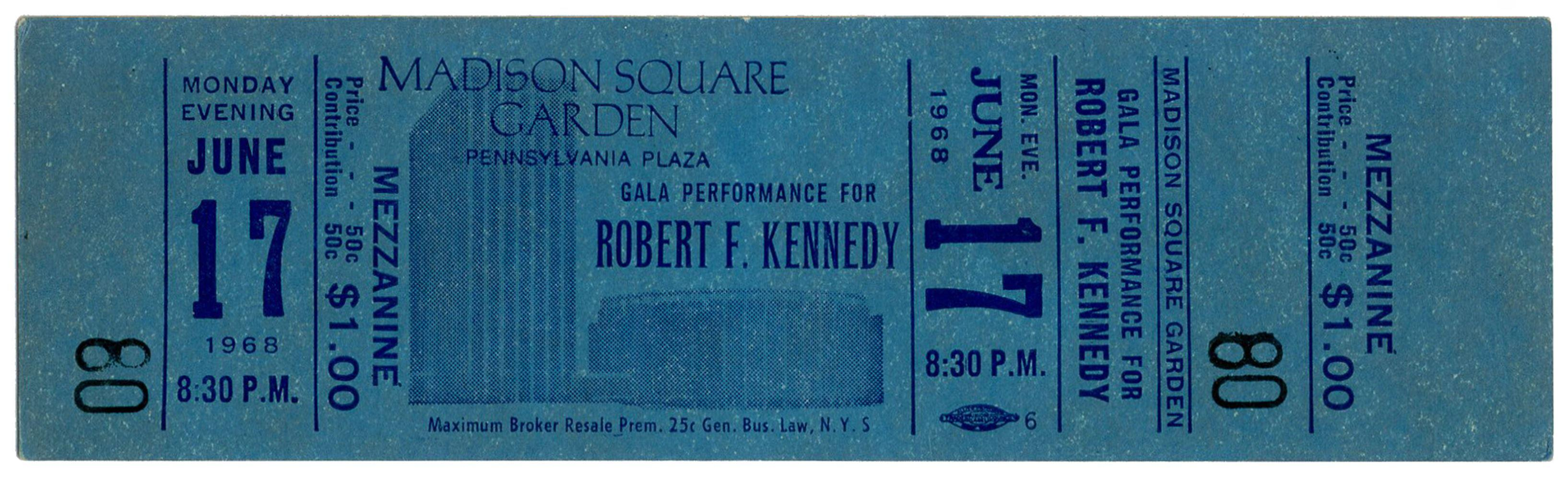 RFK Unused Ticket to the Speech that Never Happened