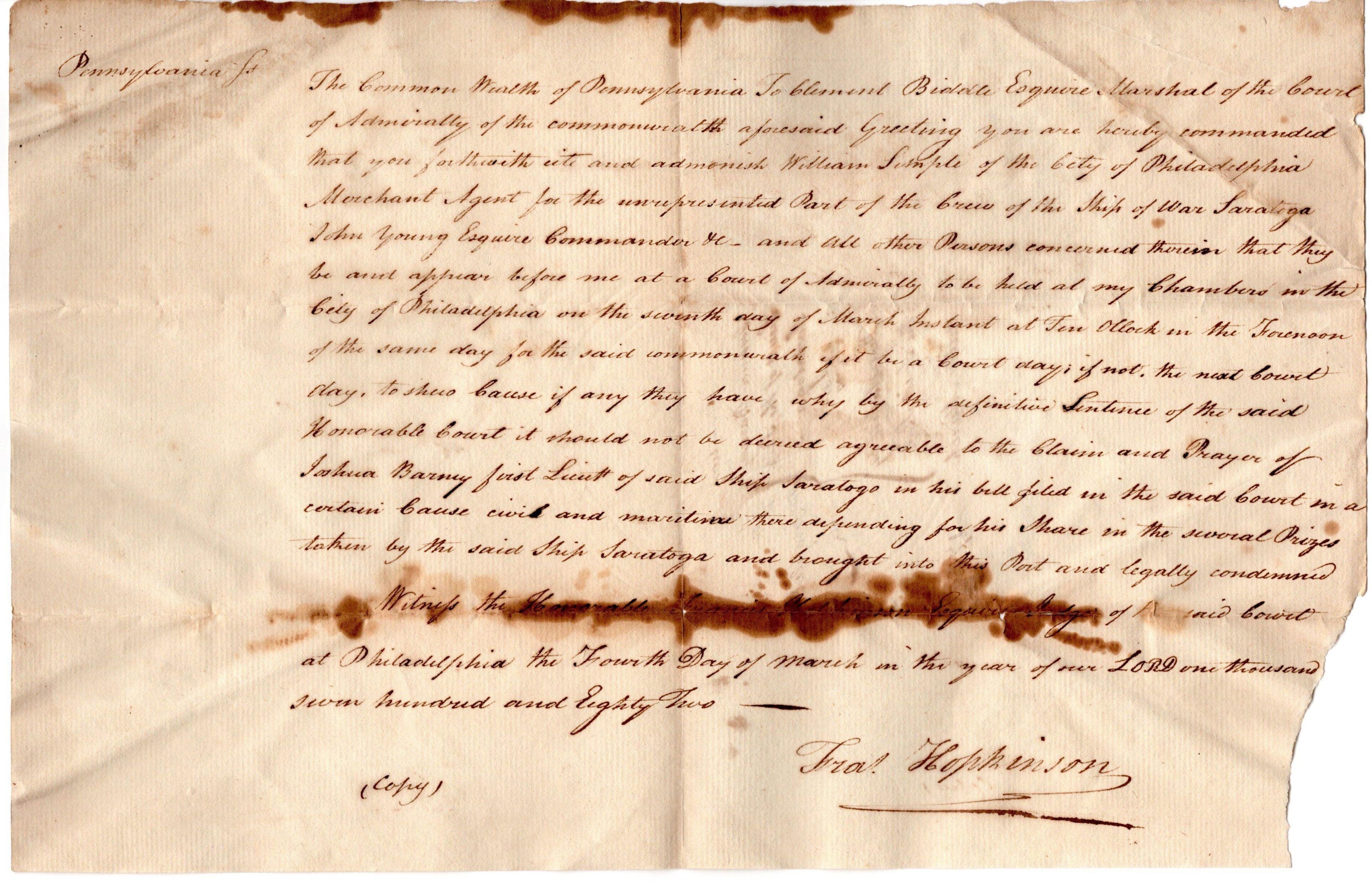 Francis Hopkinson Declaration-Signer and U.S. Flag Designer Orders Attendance for Case Filed by Revolutionary War Naval Hero Joshua Barney