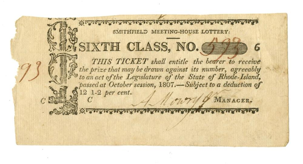 Two Early Smithfield, Rhode Island Meeting-House Lottery Tickets