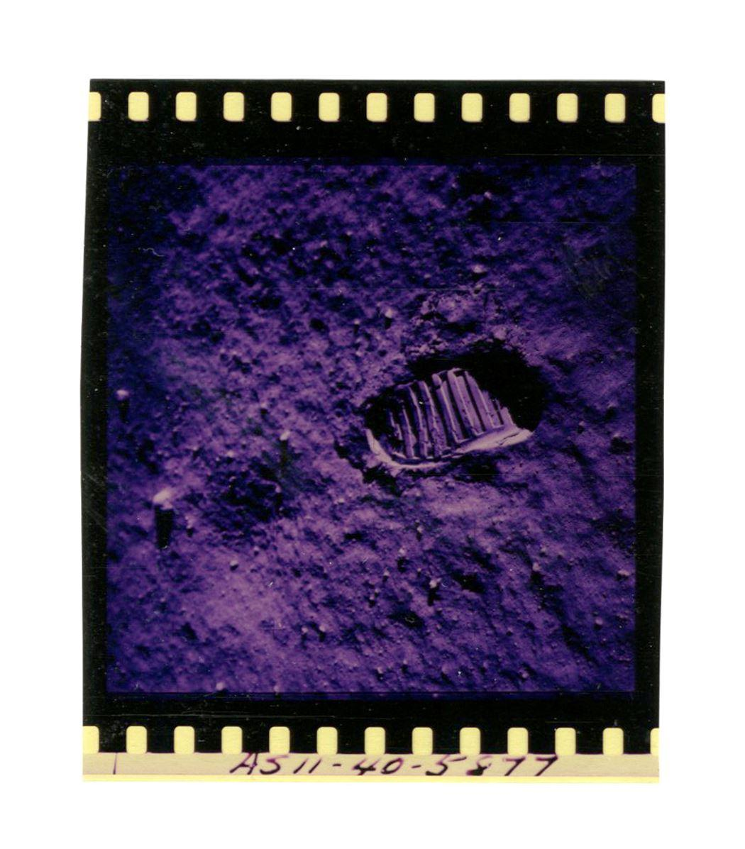 Iconic Apollo XI Color Film Negative of Aldrin's Footprint on the Moon