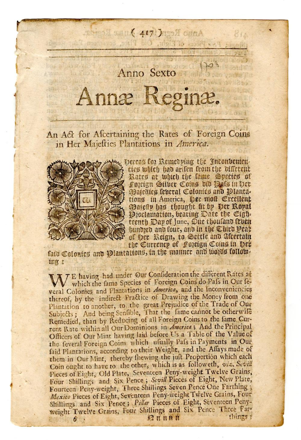 Queen Anne 1708, Coins in the American Colonies!