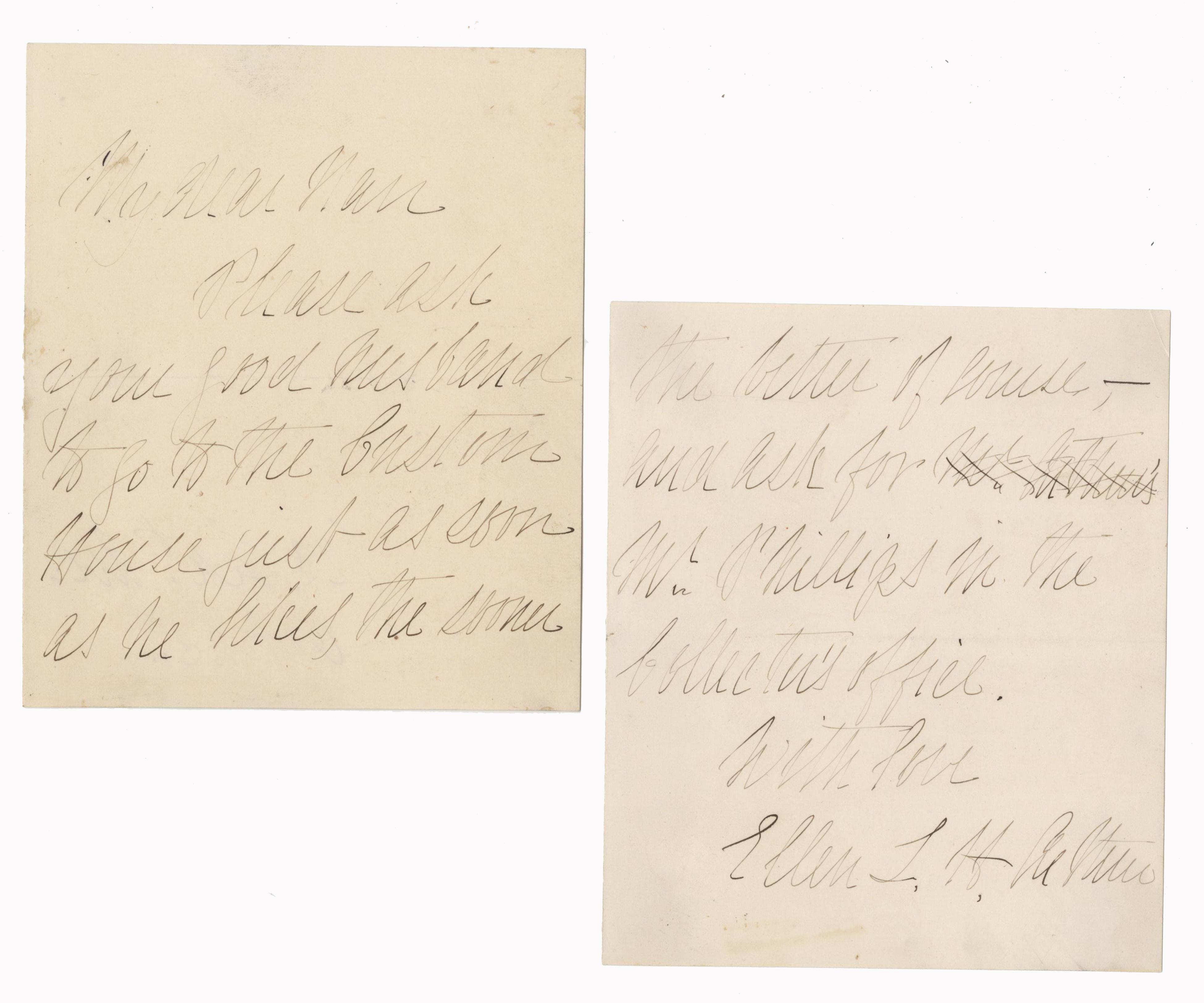 Rare Presidential Spouse, Ellen Lewis Herndon Arthur's Intriguing Letter,