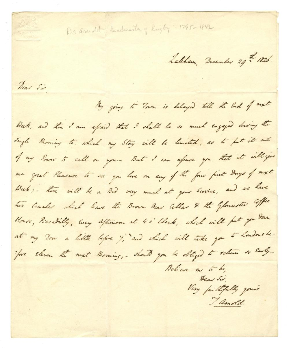 Excellent Rugby Headmaster Thomas Arnold Autograph Letter Signed