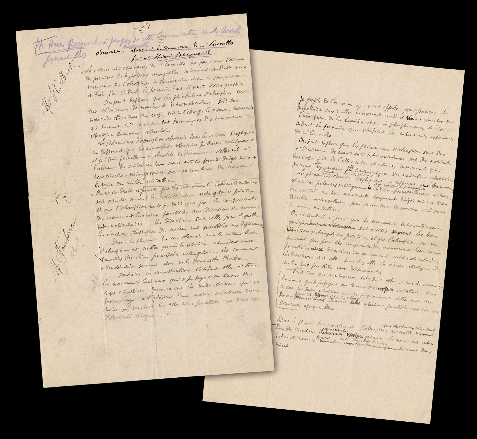 Henri Becquerel, Nobel Prize-Winning French Physicist, Autograph Manuscript Signed Re: the Crystalline Light Absorption & Vibration Debate!