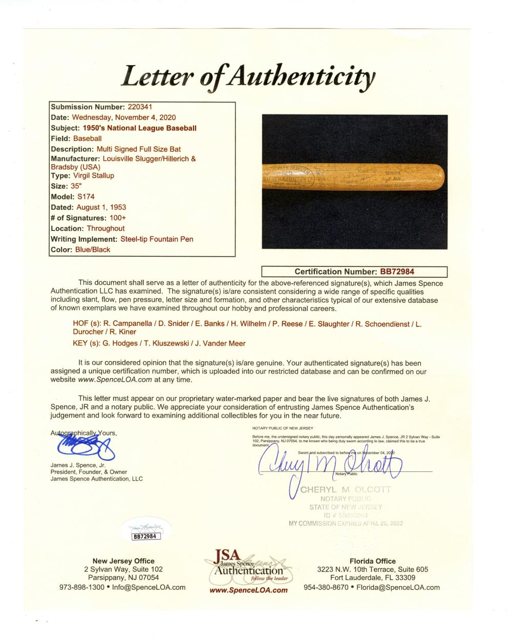 Superb All Star Bat with 100s of Signatures, Incl. Campanella, Snider, Banks, and Many More, JSA Certificate