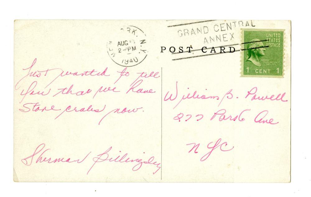 [JFK] Nightclub Owner Sherman Billingsley Signed Postcard and Ephemera