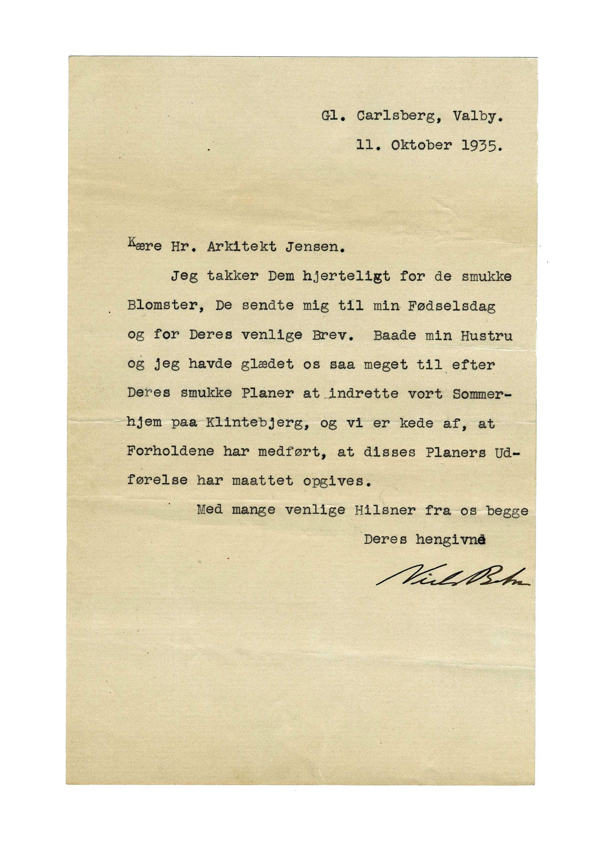 Niels Bohr Gorgeous Signed Letter