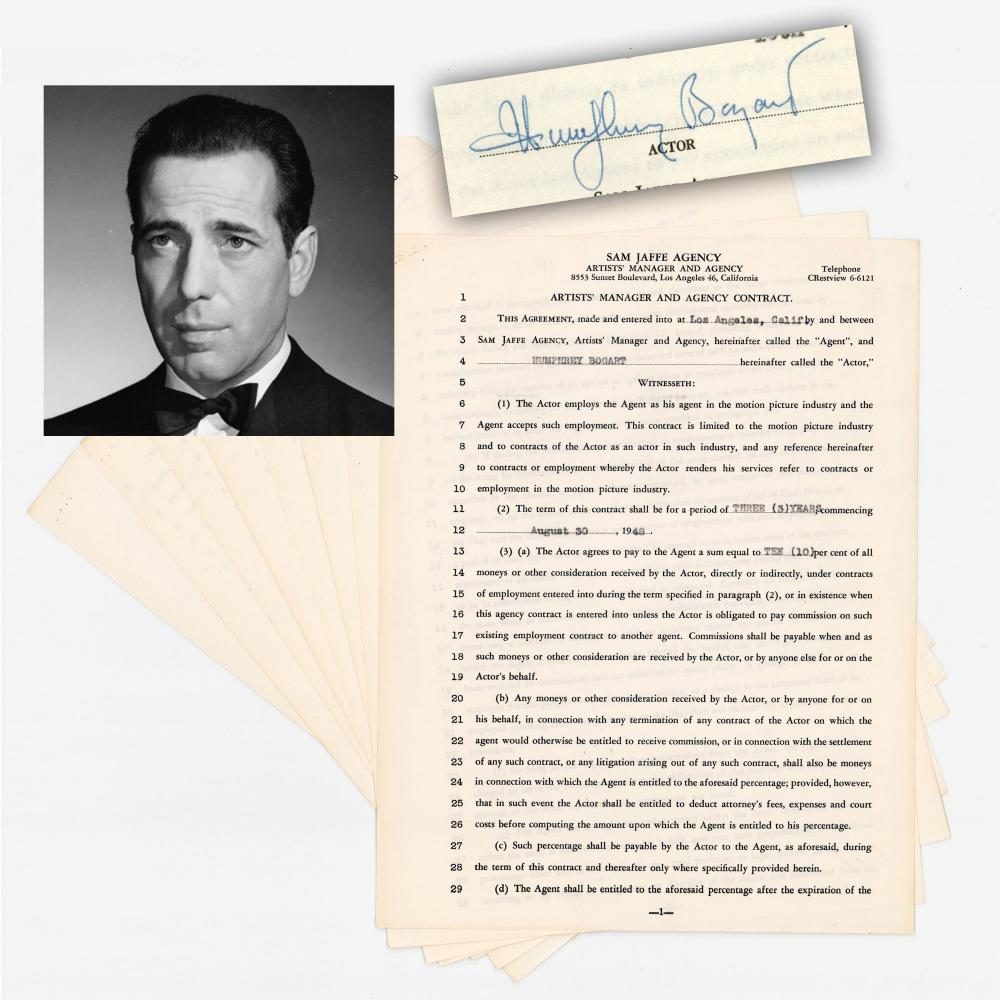 """Hollywood Icon Humphrey Bogart Signs Contract During the Making of """"The Treasure of the Sierra Madre"""" and """"Key Largo"""""""