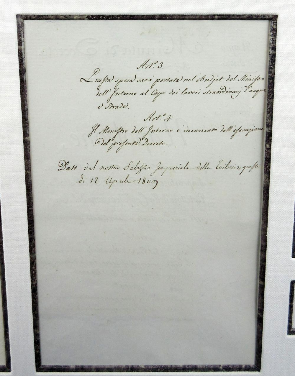 Napoleon Signed Document Authorizing Construction of Bridge in Piedmont, Italy During the Earliest Days of the War of the Fifth Coalition