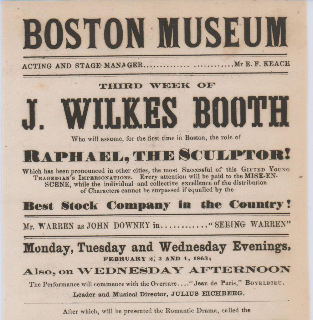 John Wilkes Booth For the First Time as Raphael, The Sculptor!